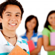 Student with a group — Stock Photo