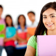 Stock Photo: Student with a group