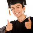 Graduate with thumbs up — Stock Photo