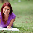 Woman studying outdoors — Stock Photo #7758497