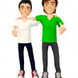3D guys with thumbs up — Stock Photo