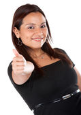 Casual woman with thumb up — Stock Photo