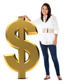 Girl with a dollar sign — Stock Photo