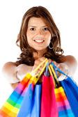 Shopping woman smiling — Stock Photo