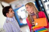 Couple at a shopping center — ストック写真