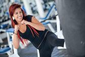 Woman kickboxing — Stock Photo