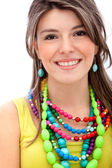 Girl with colorful jewelry — Stock Photo