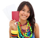 Woman holding her passport — Stock Photo