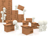 3d piling up boxes — Stock Photo