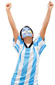 Happy Argentinean football fan — Stock Photo