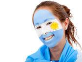 阿根廷国旗-女性脸 — 图库照片