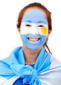 Argentinian flag - female face — Stock Photo