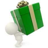 3D man lifting gift box — Stock Photo
