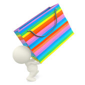 3D person carrying a shopping bag — Stock Photo