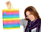 Kvinna med shopping väska — Stockfoto