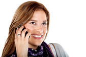 Güzel bir kadın telefon — Stok fotoğraf