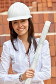 Female architect at a construction site — Stock Photo