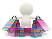 Personne 3d avec des sacs à provisions — Photo