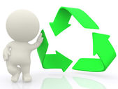 3D man with hand on recycling sign — Stock Photo