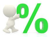 3D man pushing percentage sign — Stock Photo