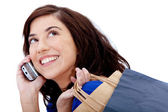 Shopping frau am telefon — Stockfoto