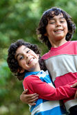 Brothers playing outdoors — Stock Photo