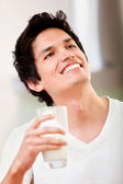 Man drinking milk — Stock Photo
