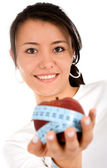 Diet and nutrition - girl with apple — Stock Photo