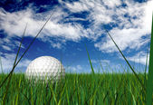 Gold ball on grass blades — Foto Stock