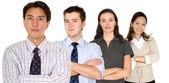 Jistý obchodní muž a jeho obchodní tým — Stock fotografie