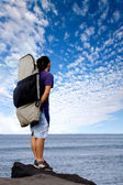Surfer admiring the sea view — Stock Photo