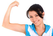 Fitness girl showing her biceps — Stock Photo