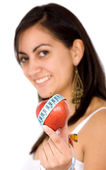 Girl holding an apple smiling — Stock Photo