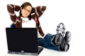Casual girl relaxing at the office — Stock Photo