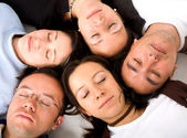 Casual group of sleeping — Stock Photo
