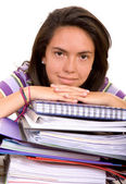 Casual female student with notebooks — Stockfoto