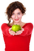 Girl holding a green apple - diet series — Stok fotoğraf
