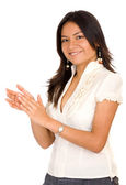 Business woman smiling and applauding — Stock Photo