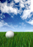 Golf ball on grass and blue sky — Stockfoto