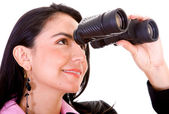 Business woman with binoculars — Stock Photo