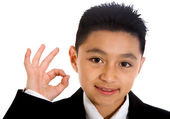 Business boy doing the ok sign — Stock Photo