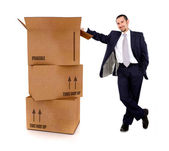 Business man with card board boxes — Stock Photo