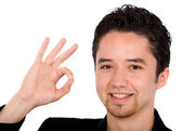 Young man doing the ok sign — Stock Photo