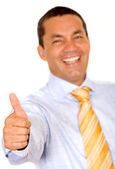 Successful business man with thumbs up — Stock Photo