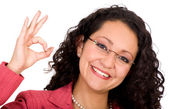 Business woman - ok sign — Stock Photo