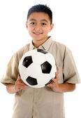 Child with a football ball — Stock Photo