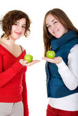 Girls on a healthy diet — Stock Photo