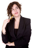 Business woman thinking of ideas — Stock Photo