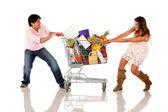 Shopping couple fighting — Stock Photo