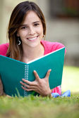Girl studying outdoors — Stock Photo